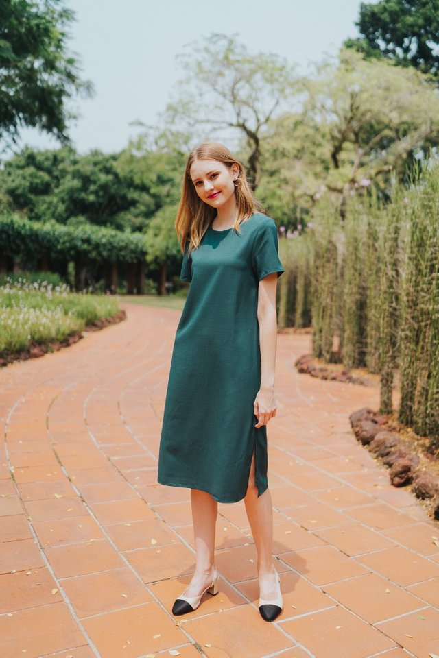 Kirsty Classic Shift Dress in Forest