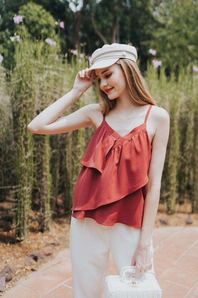Florrie Ruffles Top in Berry