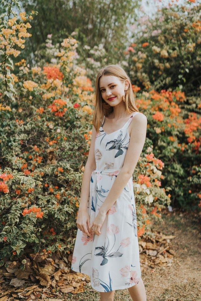 Saige Floral Slip Dress in White