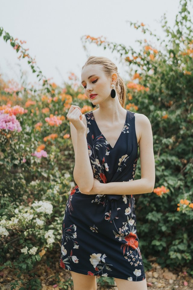 Ellison Floral Ribbon Dress in Navy