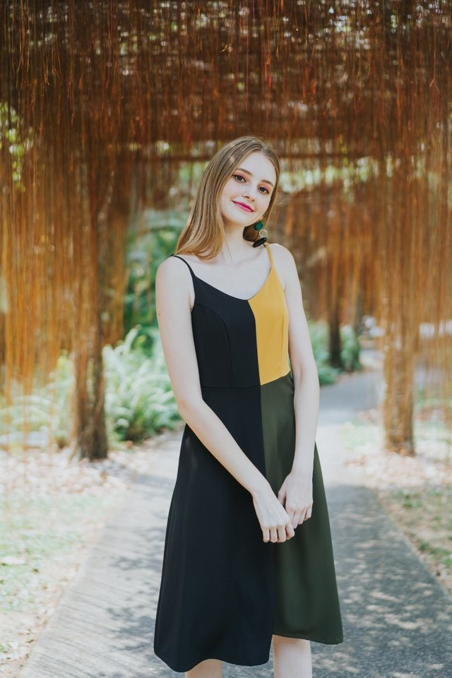 Arely Colourblock Midi Dress in Black