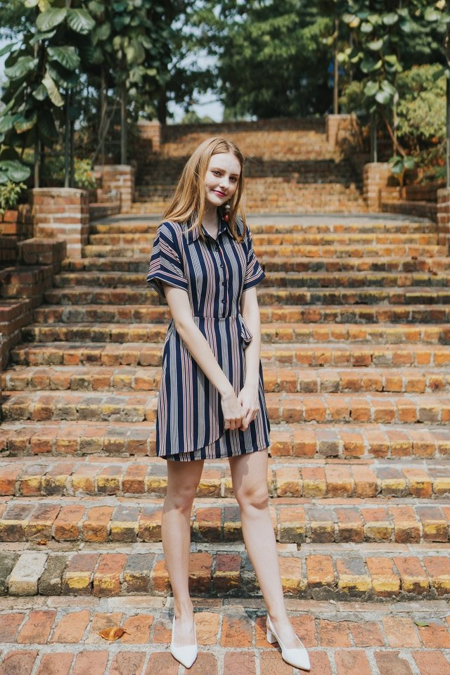Kynlee Shirt Dress in Navy