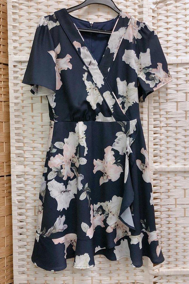 Floral Printed Ruffled Hem Dress in Navy