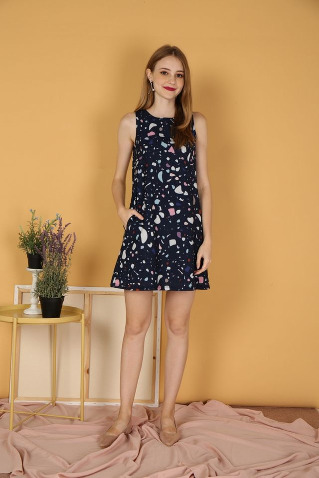 *RESTOCK* Luella Terrazo Trapeze Dress in Navy