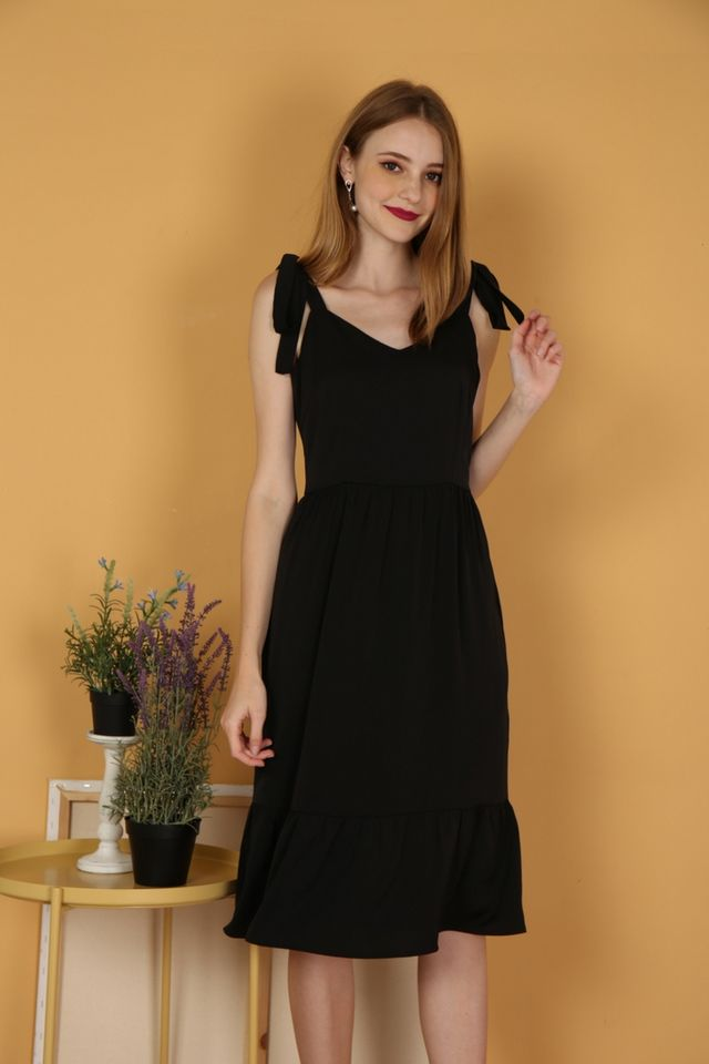 Thalia Dropwaist Midi Dress in Black
