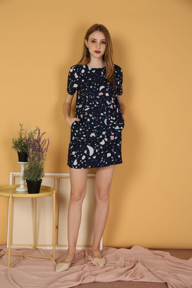 *RESTOCK* Ingrid Terrazo Shift Dress in Navy