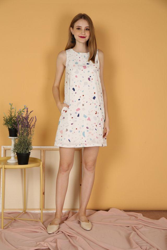 *BACKORDER* Luella Terrazo Trapeze Dress in White