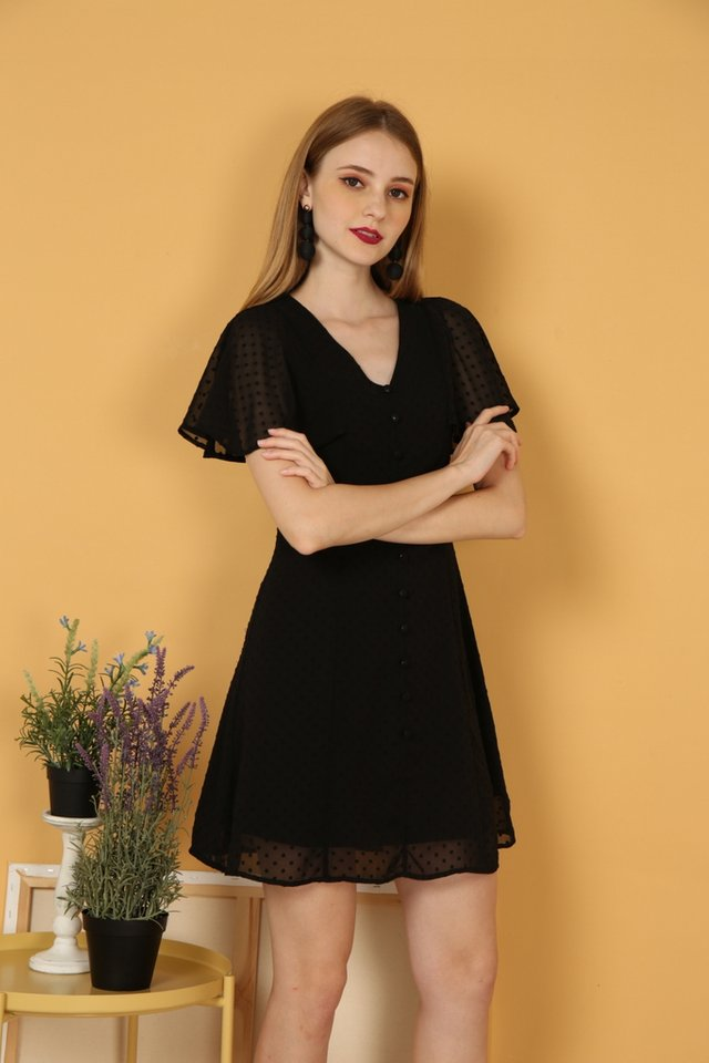 Maeve Swiss Dots Dress in Black