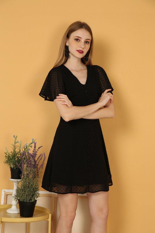 Maeve Swiss Dots Dress in Black (XS)