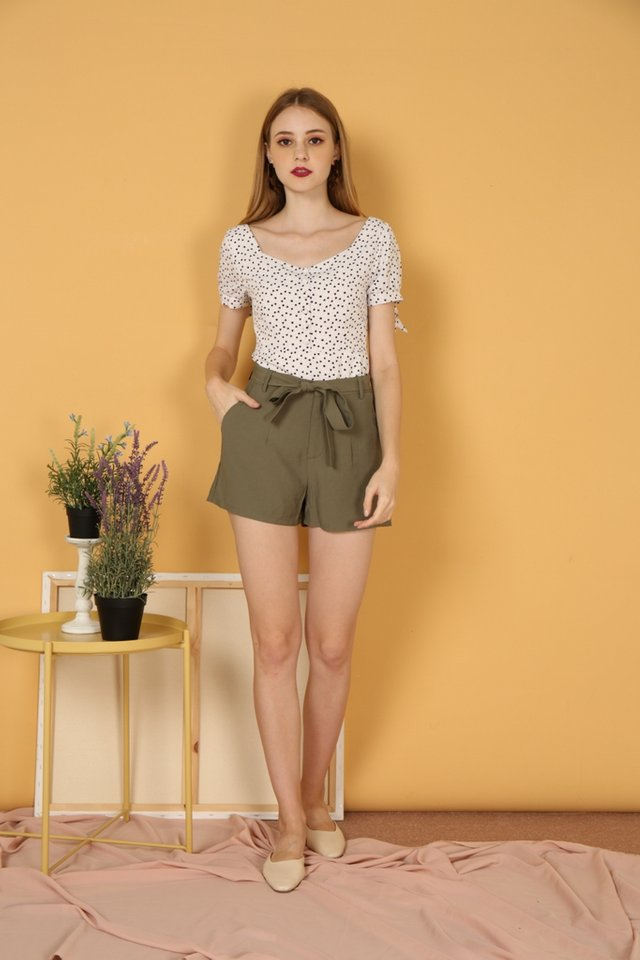 Raquel Tie-Front Ribbon Shorts in Olive