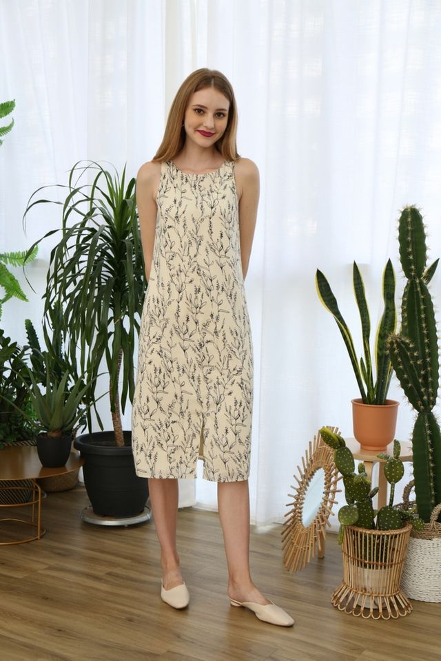 Roselle Botanical Midi Dress in Cream