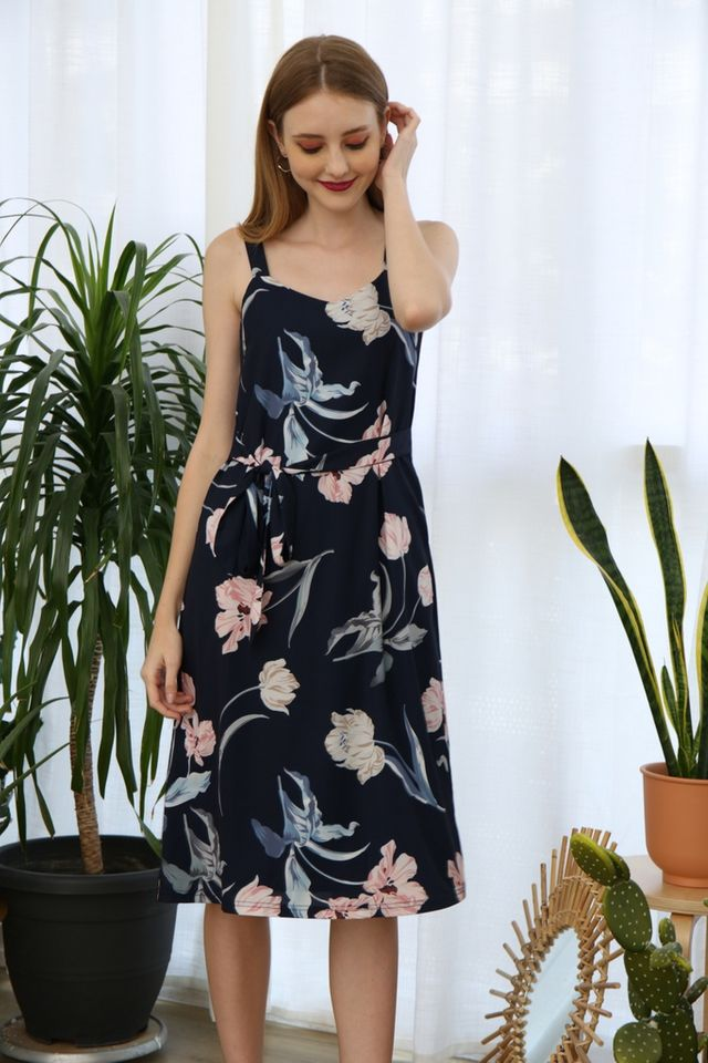 Saige Floral Slip Dress in Navy