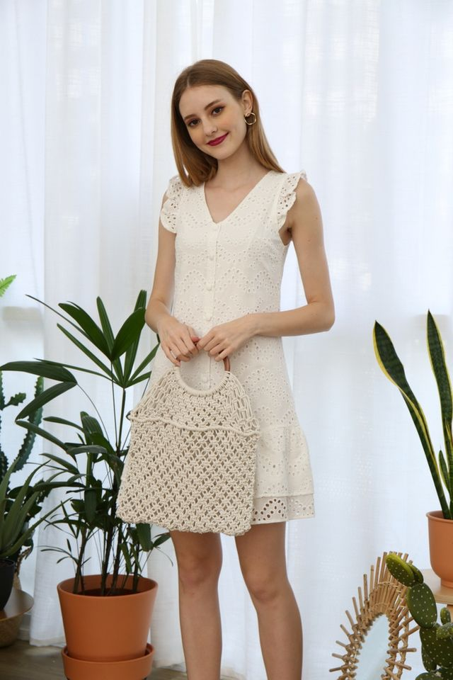 Emmarie Eyelet Dropwaist Dress in White