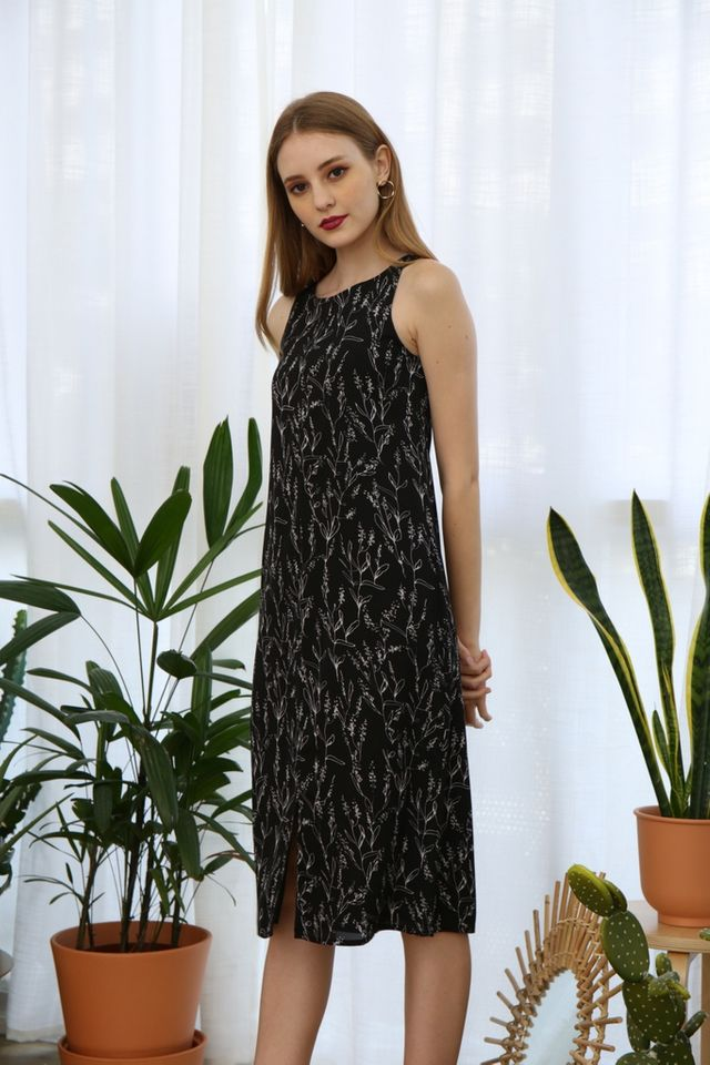 Roselle Botanical Midi Dress in Black