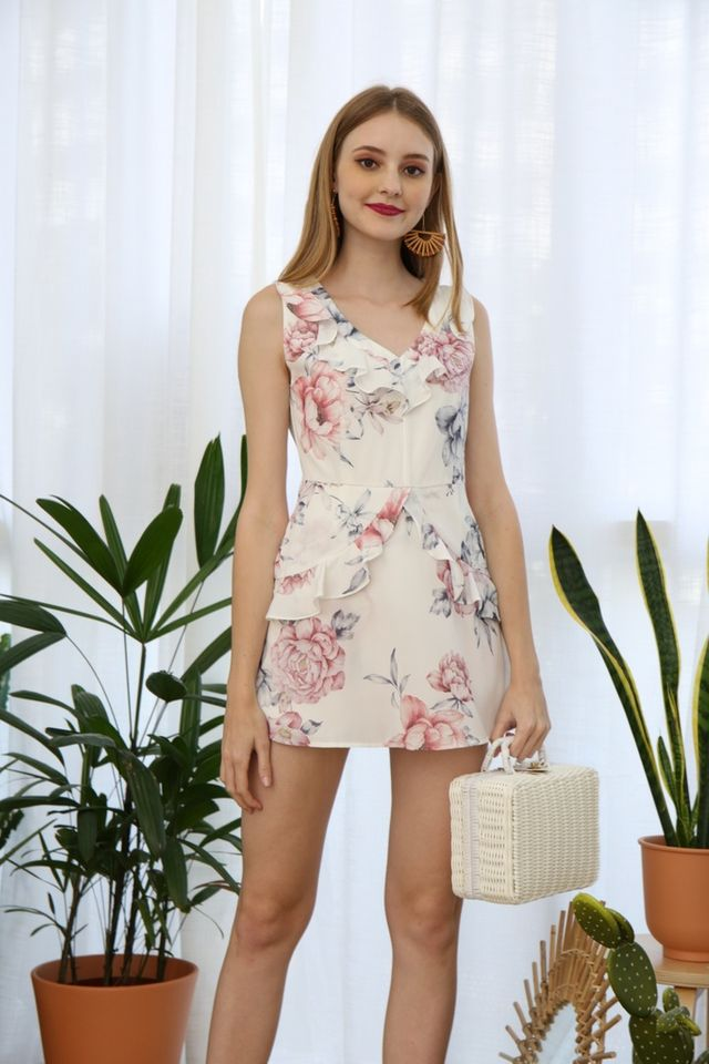 Darlia Floral Skorts Romper in White