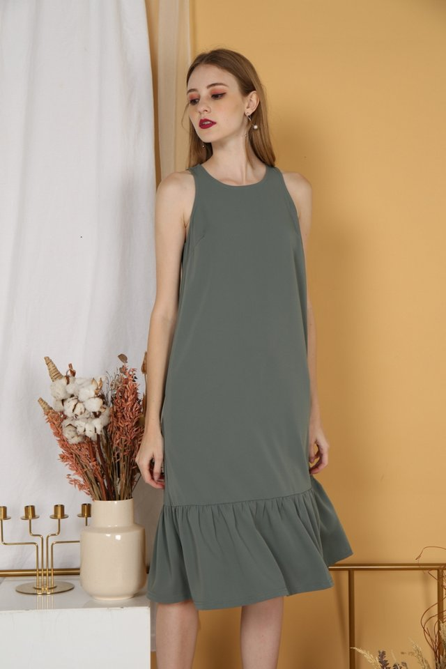 Noemi Dropwaist Midi Dress in Sage
