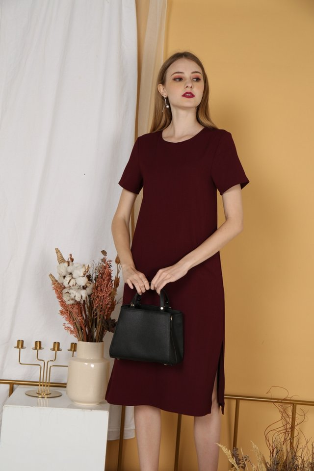 Kirsty Classic Shift Dress in Wine