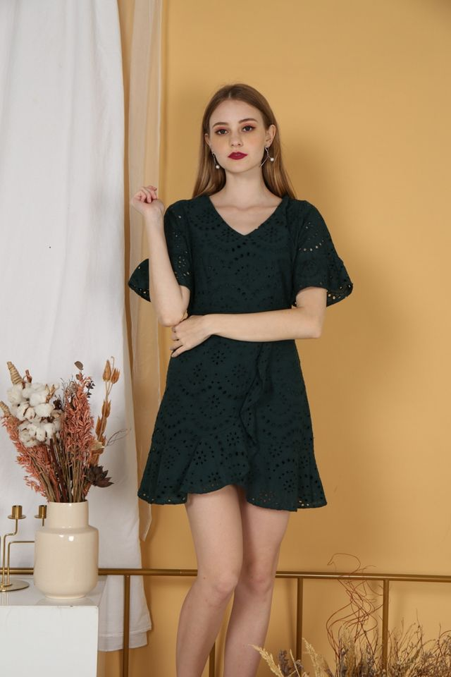 Marissa Premium Eyelet Overlay Dress in Forest