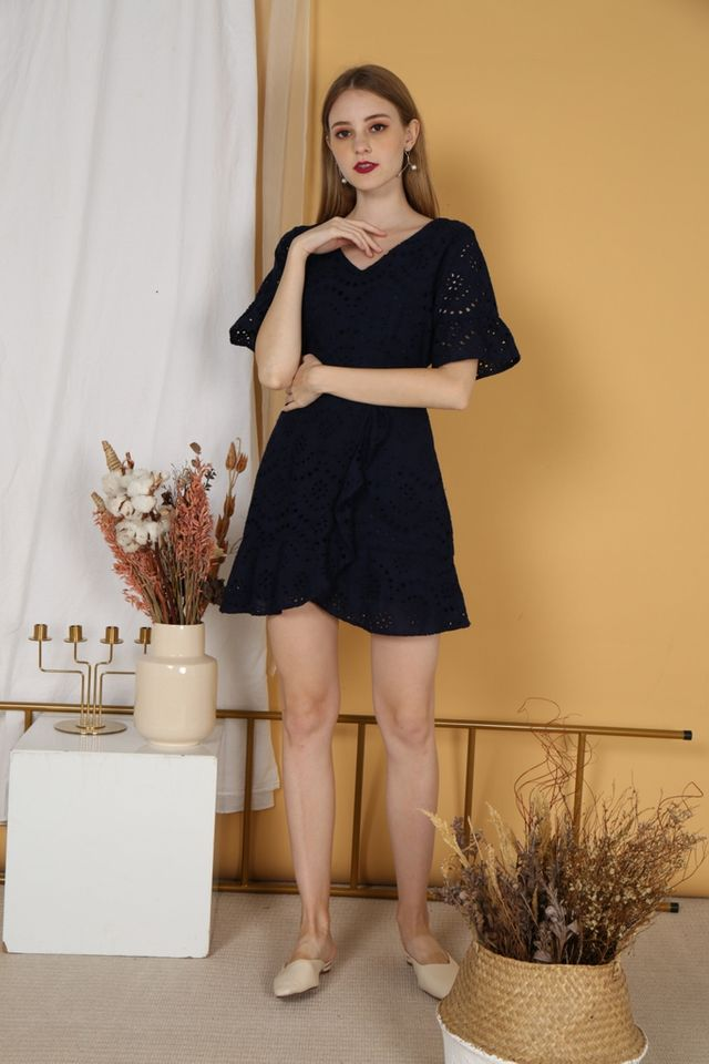 Marissa Premium Eyelet Overlay Dress in Navy (XS)