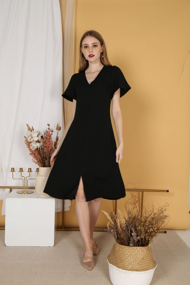 Taylee Button Midi Dress in Black