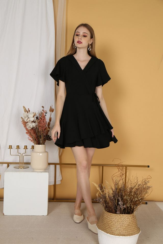 Ayleen Tiered Skater Dress in Black