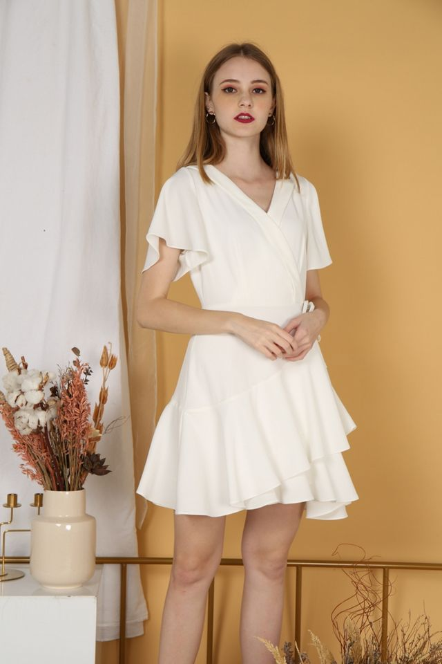 Ayleen Tiered Skater Dress in White
