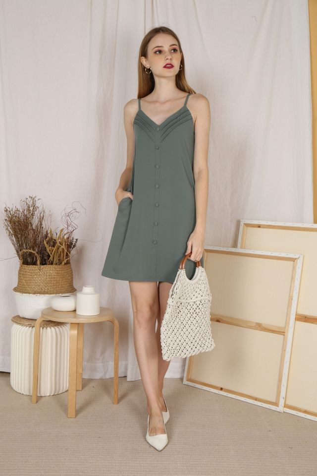 Megan Pleated Button Dress in Sage