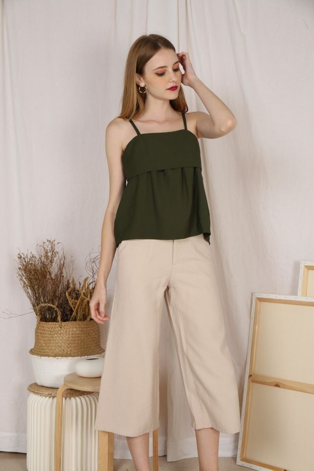 Nettie Overlay Top in Olive (L)