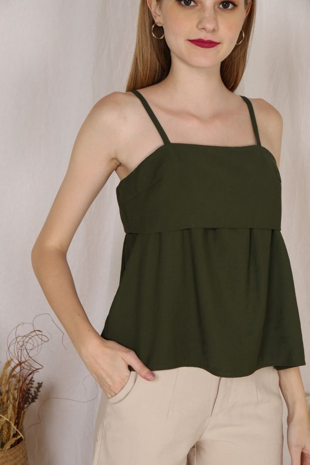 Nettie Overlay Top in Olive