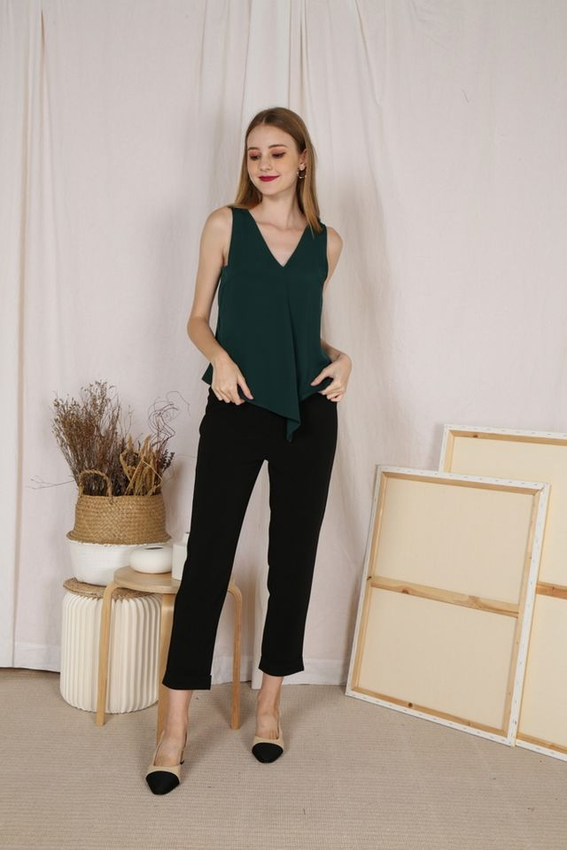 Cathleen V-Neck Top in Forest