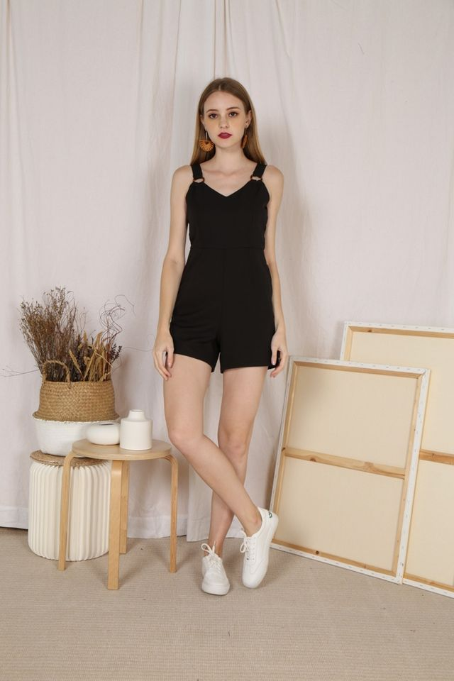 Hadlee Basic Buckle Romper in Black