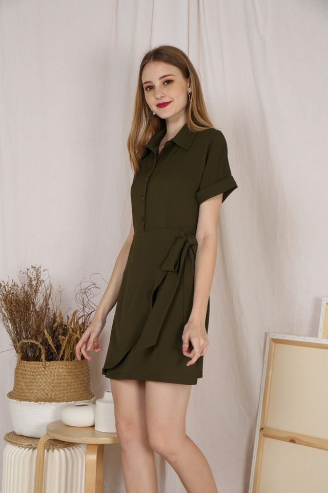Kynlee Shirt Dress in Olive