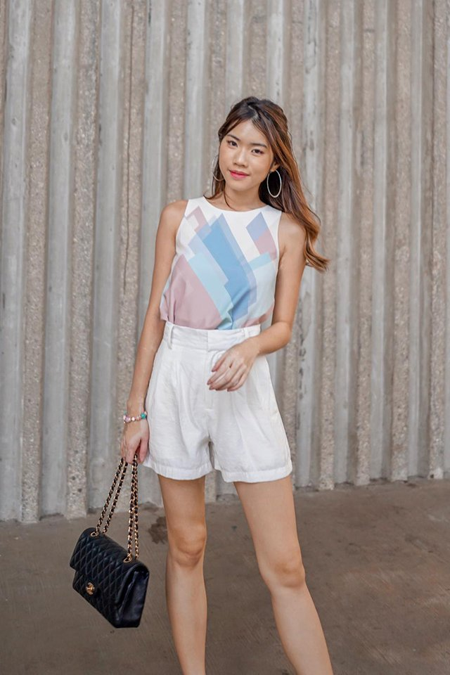 Liana Geometric Top in White