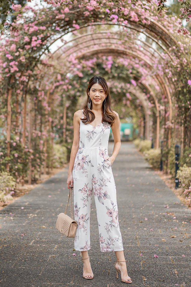 Marlee Floral Wide Leg Jumpsuit in White