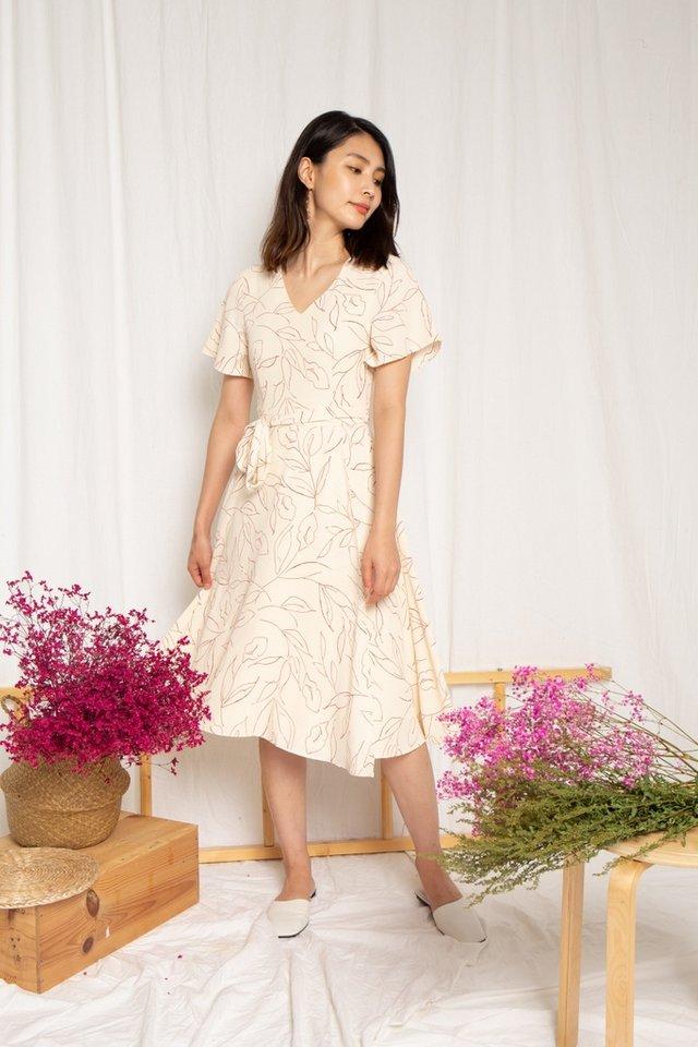Alison Leafy Overlay Midi Dress in Cream