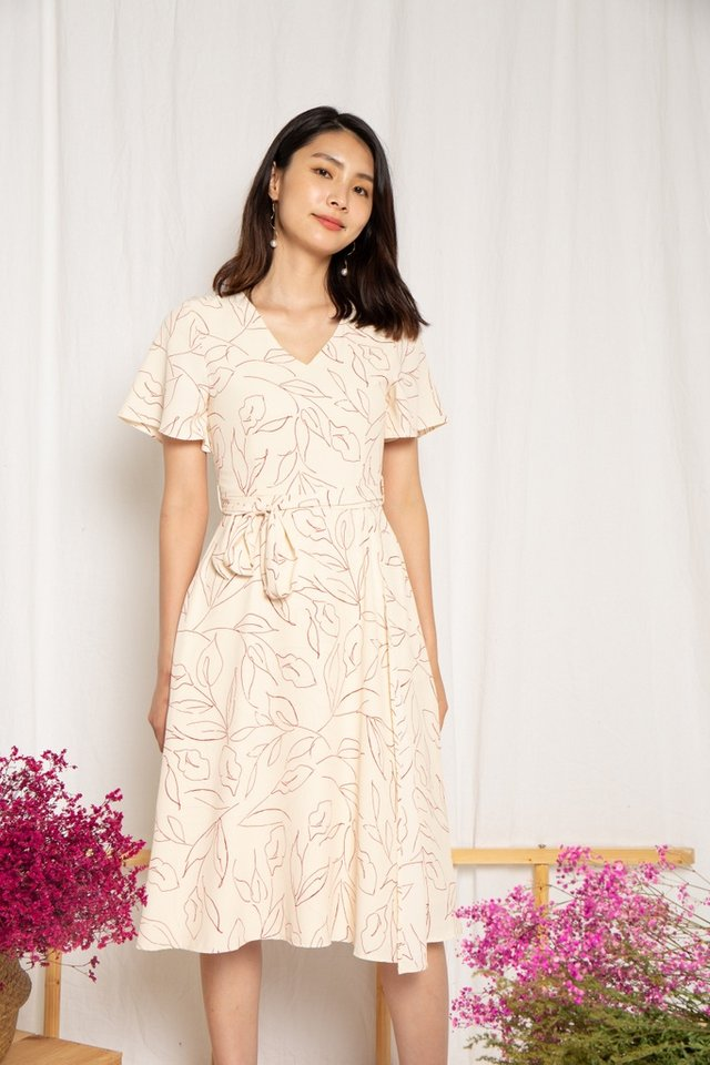 Alison Leafy Overlay Midi Dress in Cream (XS)