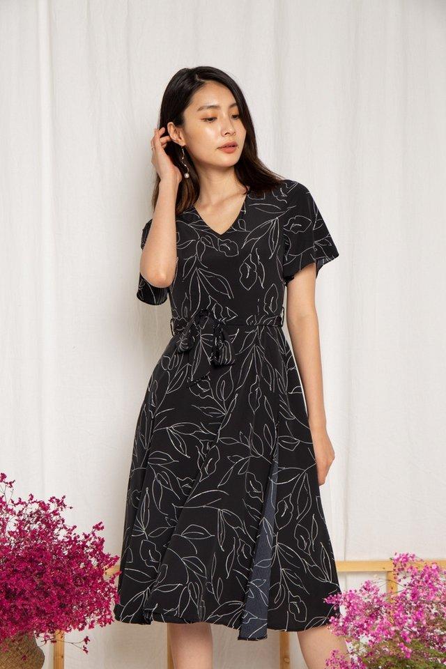 Alison Leafy Overlay Midi Dress in Black