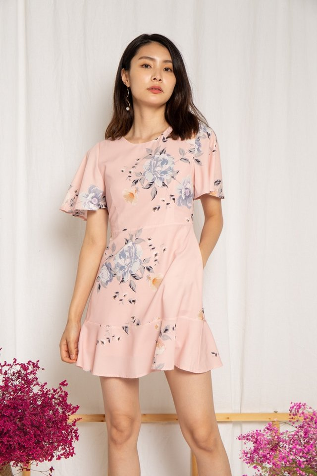 Cassidy Floral Ruffles Hem Dress in Pink (XS)