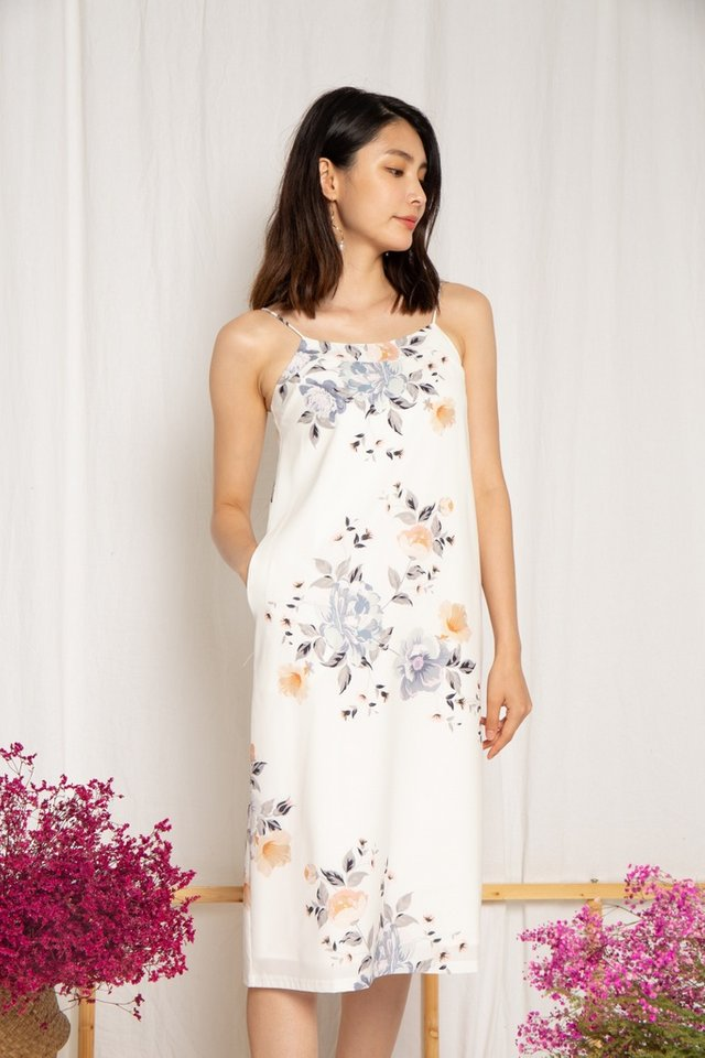 Bianca Floral Slip Midi Dress in White