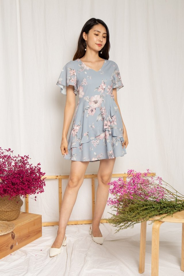 Kaitlyn Floral Ruffles Dress in Dusty Blue