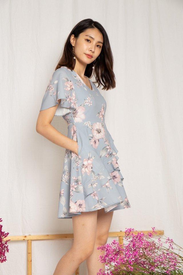Kaitlyn Floral Ruffles Dress in Dusty Blue
