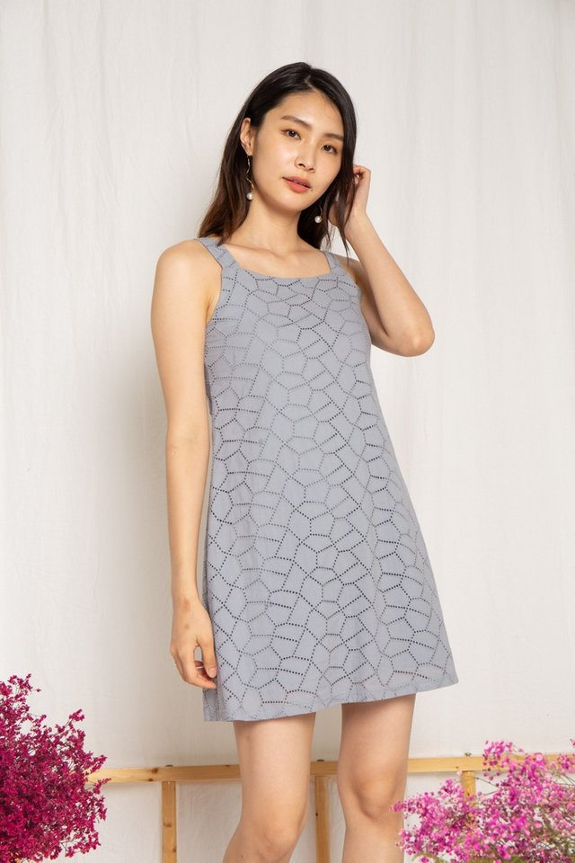 Thea Eyelet Dress in Dusty Blue