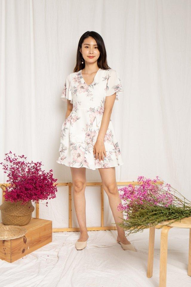 Kaitlyn Floral Ruffles Dress in White