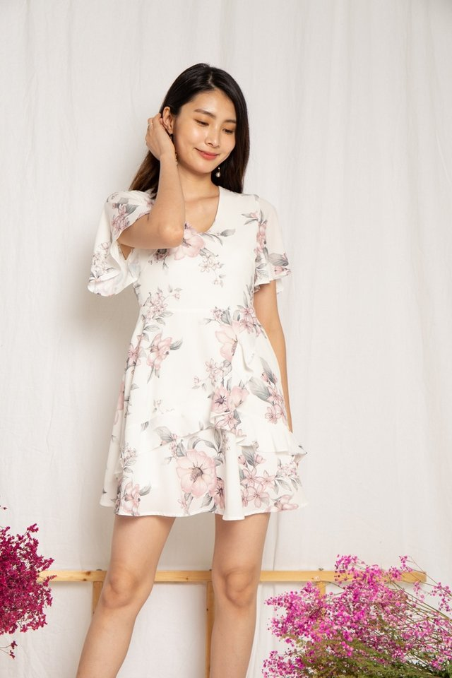 Kaitlyn Floral Ruffles Dress in White