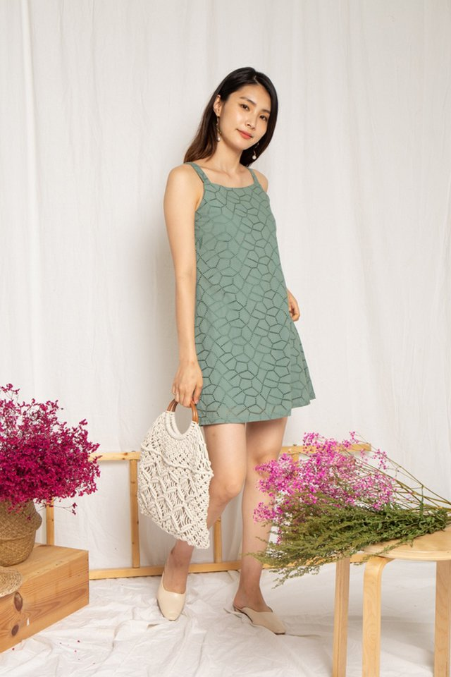 Thea Eyelet Dress in Sage