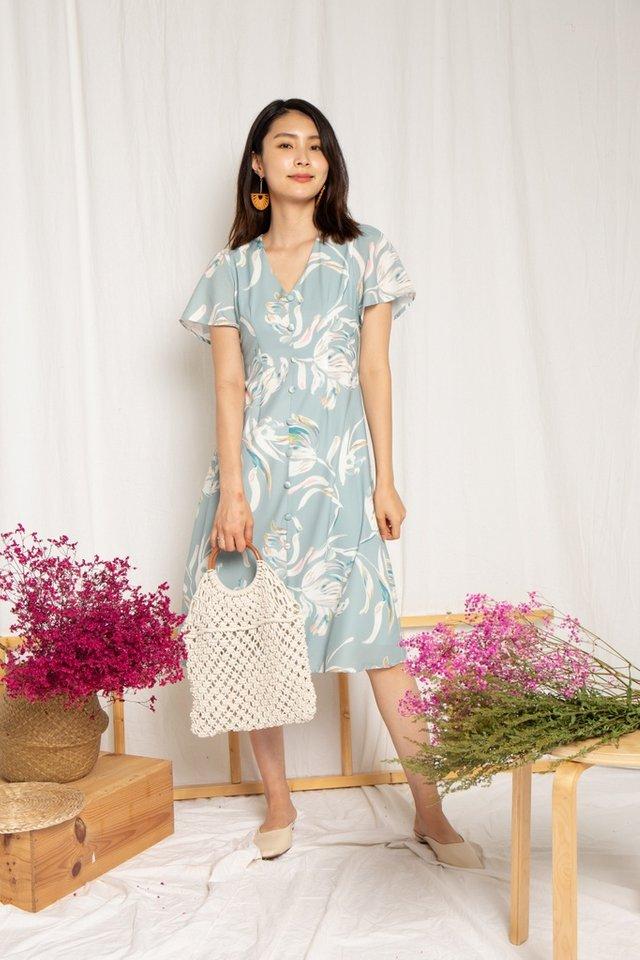 Sierra Floral Button Midi Dress in Sage