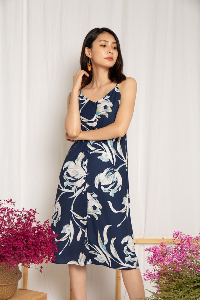 Lennon Floral Button Slip Dress in Navy