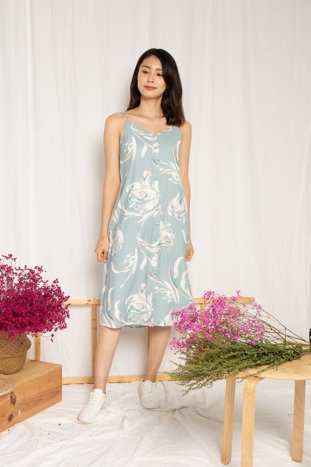 Lennon Floral Button Slip Dress in Sage