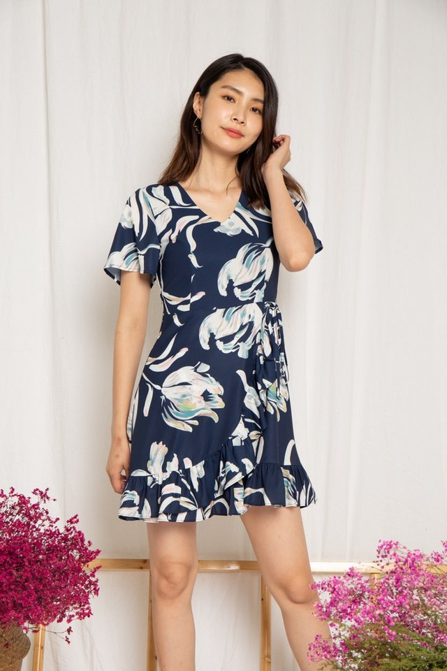 Myra Floral Ruffles Dress in Navy