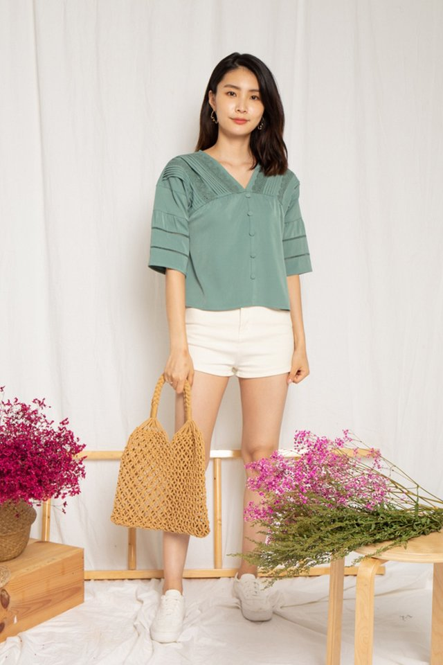 Hallie Crochet Sleeved Top in Sage